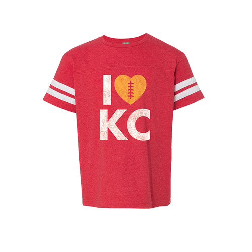 APPAREL | LOVE KC FOOTBALL KID TEE