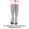 White and Black Striped Thigh High 8174