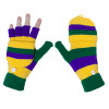 Mardi Gras Knit Gloves with Mittens 5046