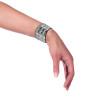 3-Row Silver Studded Biker Wristband 6506