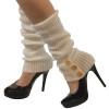 Leg Warmers Bulk   White Knit Leg Warmers with Button Trim 1256