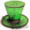 Green Glitter Mini Top Hat with Veil 5850