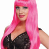 80's Neon Pink Long Wig With Bangs 6077