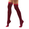 12 PACK Stockings Stripe Opaque Thigh High Red/Black WS8172D