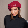 Winter Womens Beret Hat |  Custom Beret |  Wool French Beret Hat | (Fonts in Picture Gallery)