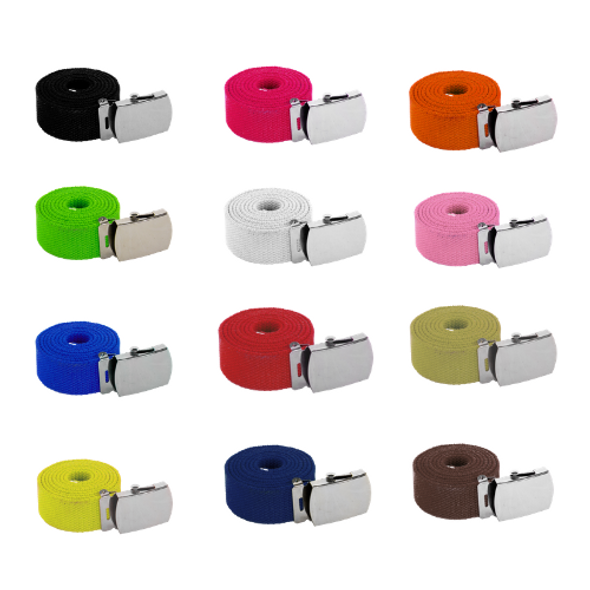 "Canvas Belts Bulk | 12 PACK  Adjustable MIXED COLORS Adjusts to 44-46"" Size 2215M"