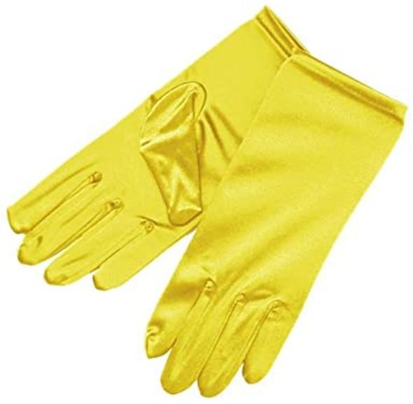 "Short Satin Gloves Yellow 9"" 5110Y"