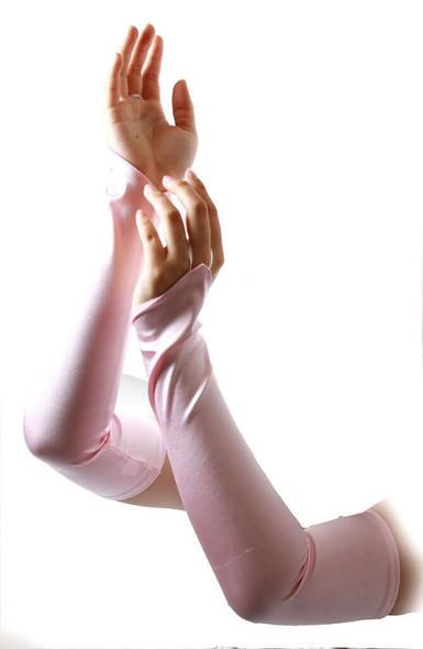 "12 PACK Light Pink Satin Gauntlet Fingerless Gloves 18""  5085LI"