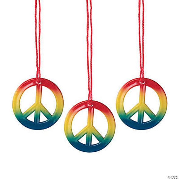 48 PACK Plastic Rainbow Peace Sign Necklaces 9909R