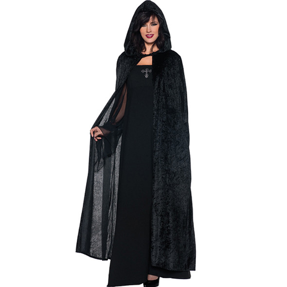 Black Long Velvet Hooded Cloak 4546