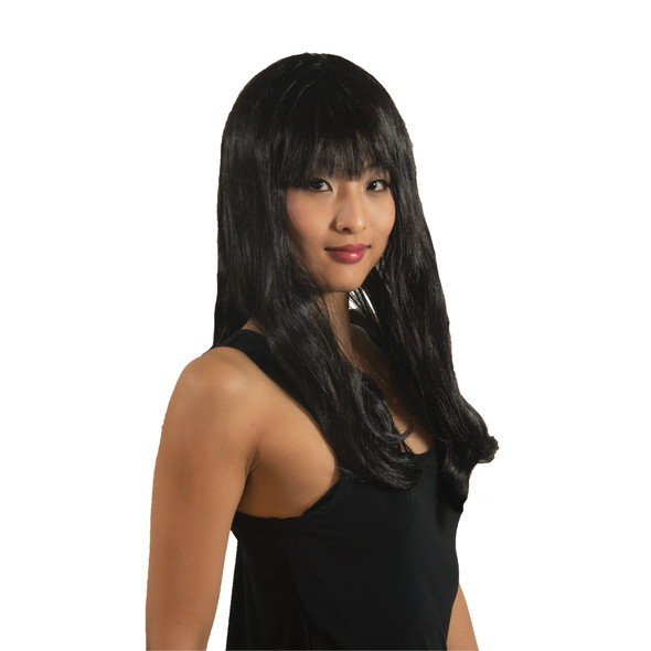 Black Long Wig w/ Bangs 6026