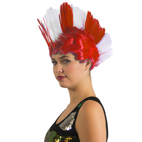 Red and White Mohawk Wig 6027