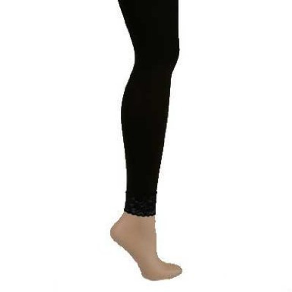 Black Footless Tights with Lace Bottom 8014
