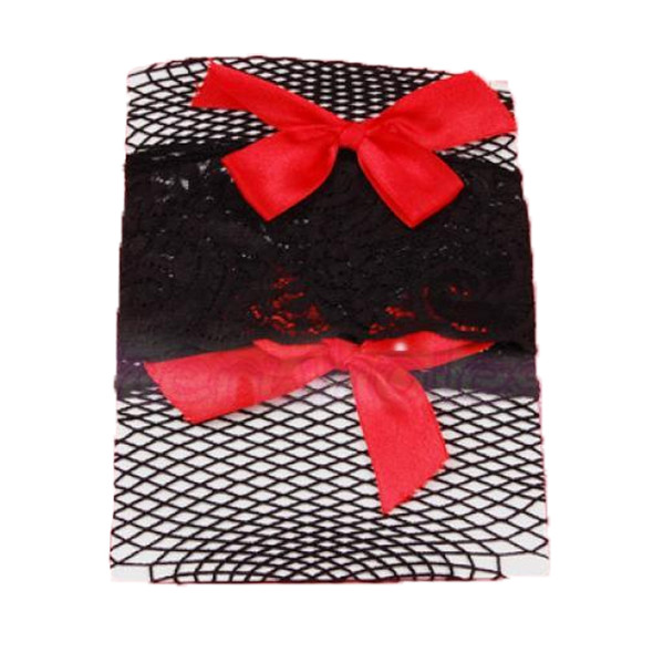 Black Fishnet Thigh High with Red Bows 8036
