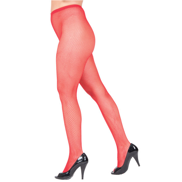 Red Fishnet Pantyhose 8042
