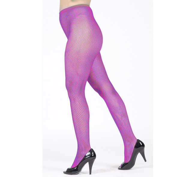 Purple Fishnet Pantyhose 8045