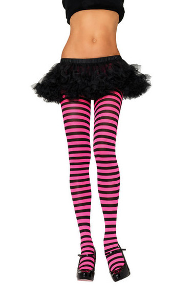 Pink and Black Striped Tights Opaque 8080