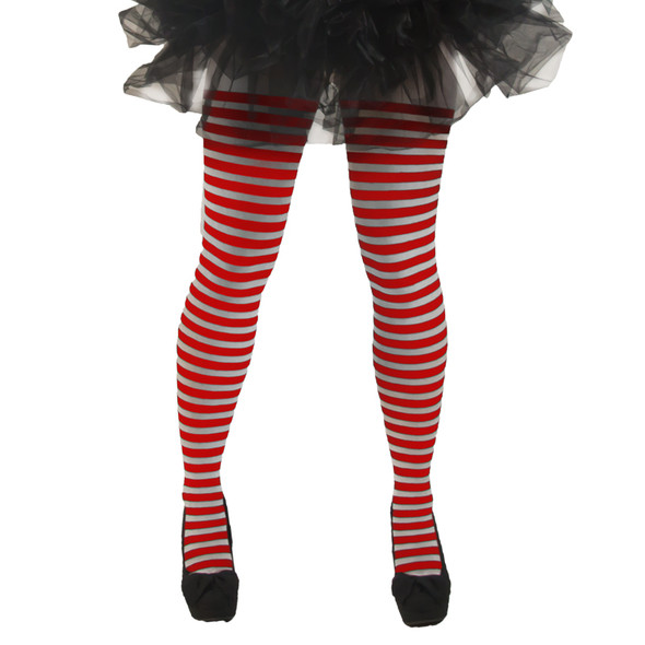 Red and White Striped Tights Opaque 8082