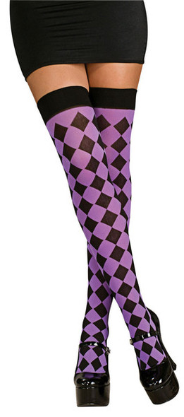 Harlequin Purple and Black Thigh Highs 8145