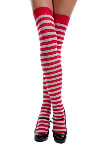 Red and White Candy Cane Striped Thigh High 8170