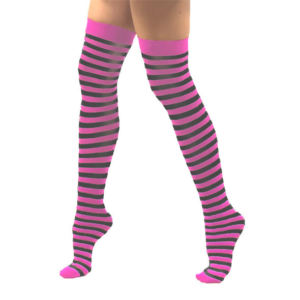 Pink and Black Striped Thigh High 8173