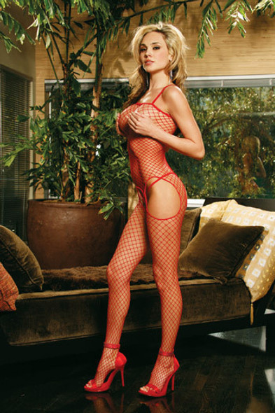 Suspender Bodystocking Red Fishnet 8301