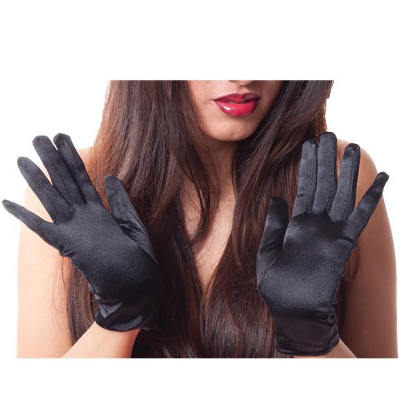 "Black Short Satin Gloves  9"" 1201"