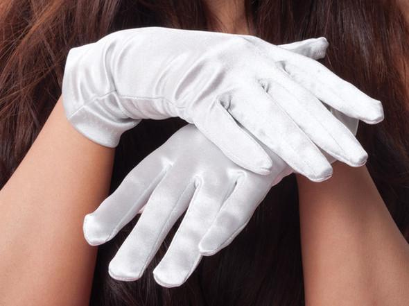 """White Short Satin Gloves Adult  9"""" 1202"""