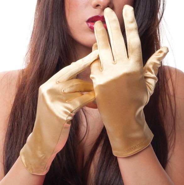 "Gold Short Satin Gloves  9"" 1205"