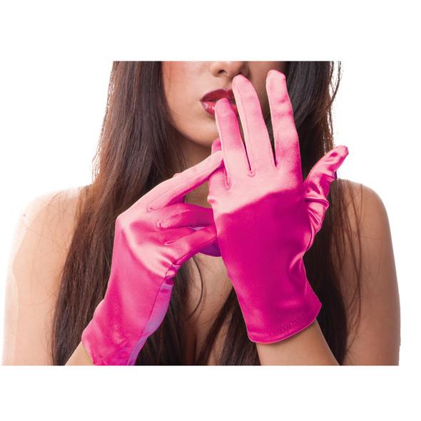 "Hot Pink Short Satin Gloves 9"" 1206"
