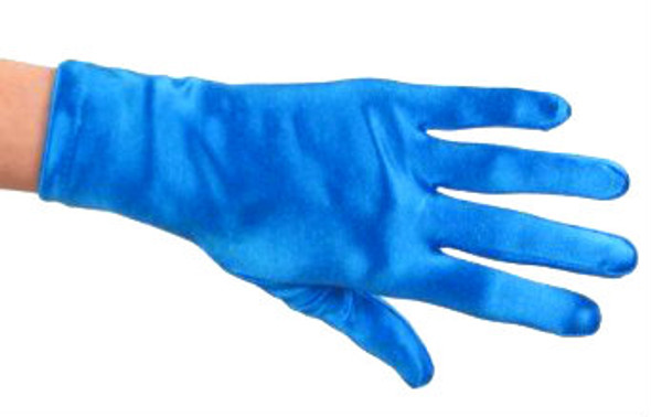 "Royal Blue Short Satin Gloves  9"" 1208"