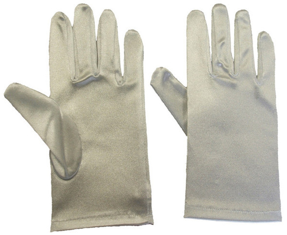 Satin Gloves Silver Short 1209