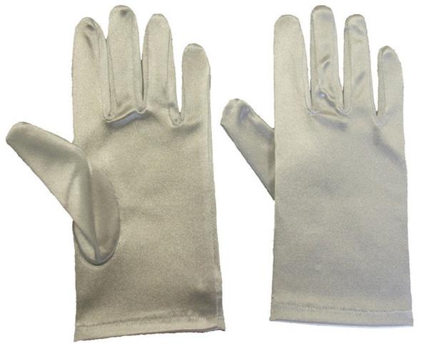 "Satin Gloves Silver Short  9"" 1209"