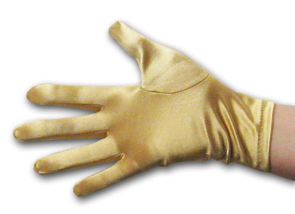 "Short Satin Gloves Gold  9"" 5110"
