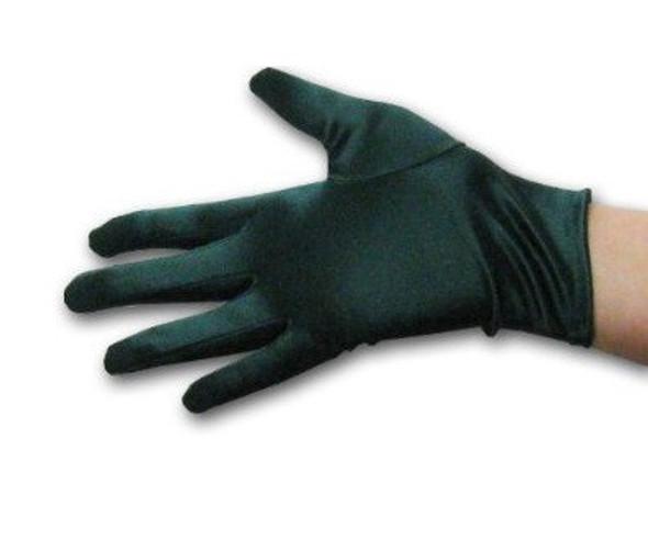 """Hunter Green Short Satin Gloves 9"""" 5111"""