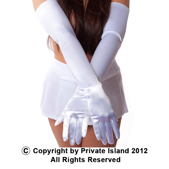 White Long Gloves Opera Satin 1211
