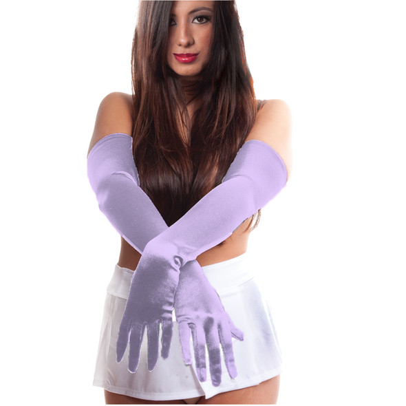 "Lavender Satin Opera Gloves 23"" 1216"