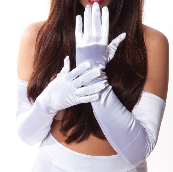 "Ivory Gloves Opera Satin 23"" 1222"