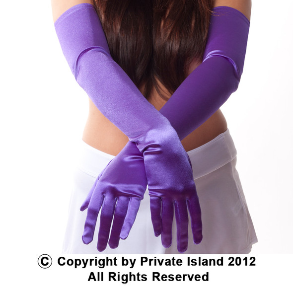 "Purple Satin Opera Gloves 23"" 1225"