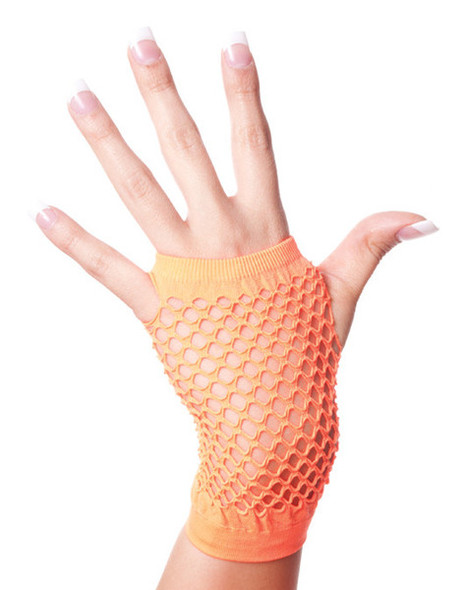 80's Short Fishnet Gloves - Neon Orange 1236