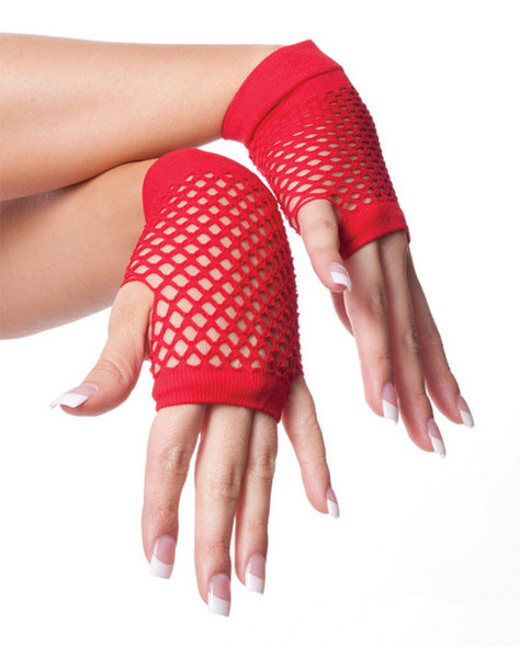 Red 80's Short Fishnet Gloves 12 PACK - Red 1238