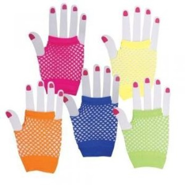 80's Short Fishnet Gloves Variety of Colors