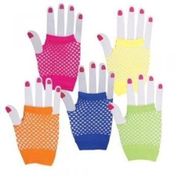 80's Short Fishnet Gloves Variety of Colors 12 PACK