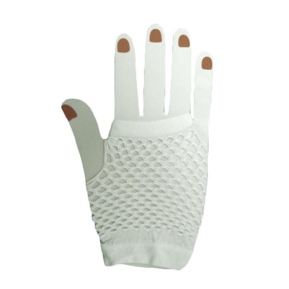 80's Short Fishnet Gloves - White 1240