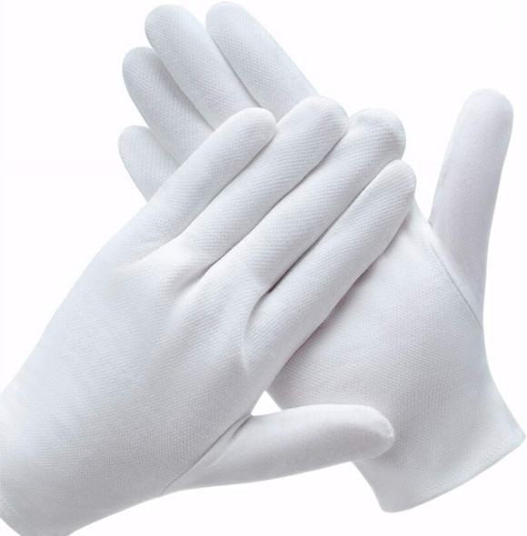 "Glove Liners White Bulk |  Cotton Inspection White Stitched Gloves - Large Size 8"" Length 12 PACK 5023"