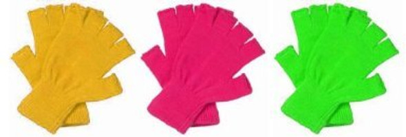 Neon Fingerless Gloves Bulk | 12 PACK Mixed Colors 5076