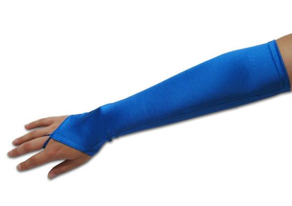 "Royal Blue Satin Gauntlet Fingerless Gloves 18""  12 PACK 5081"