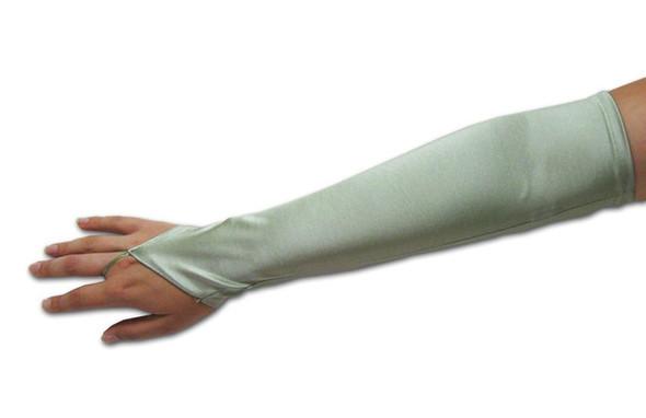 """12 PACK Silver Satin Gauntlet Fingerless Gloves 18""""  5083"""