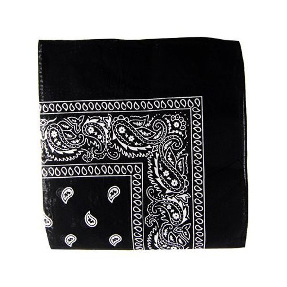 "Black Bandanna Paisley 22"" Square Standard 100% Cotton 12 PACK  1911DZ"