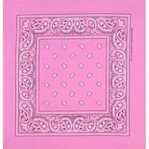 "Light Pink Paisley Bandanna 22"" Square Standard 100% Cotton 12 PACK 1914DZ"